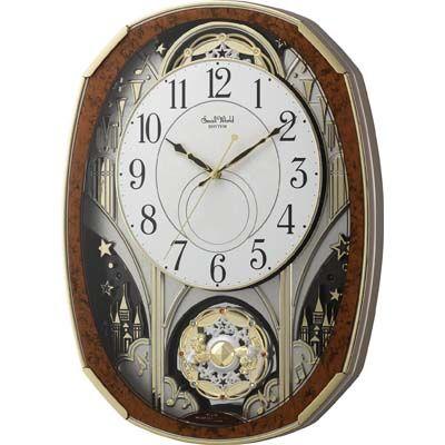 リズム時計 電波時計 掛け時計 からくり機能 30曲入り スモールワールドノエルM(木目仕上げ) 4MN513RH23