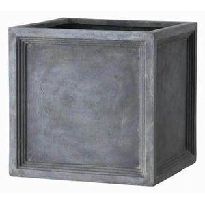 その他 軽量植木鉢/プランター 【Pキューブ型 グレー 幅47cm】 穴有 ファイバー製 『LLブリティッシュ』 ds-1701659