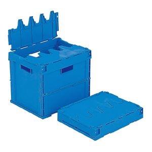 その他 (業務用10個セット)三甲(サンコー) 折りたたみコンテナボックス/サンクレットオリコン 【フタ付き】 32B ブルー(青) ds-1719011