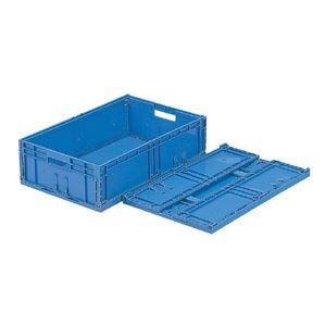 その他 (業務用10個セット)三甲(サンコー) F-Box(折りたたみコンテナボックス/オリコン) 内倒れ方式 122 無地 ブルー(青) ds-1719088