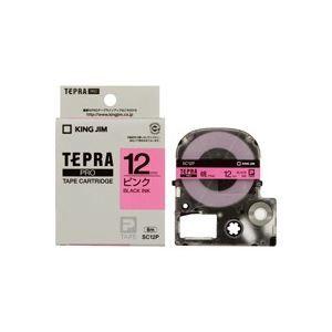 その他 (業務用50セット) キングジム テプラPROテープ/ラベルライター用テープ 【幅:12mm】 SC12P 桃に黒文字 ds-1734970