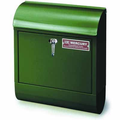 MERCURY ポスト 縦型 メールボックス ハンドル式鍵付き グリーン スチール製 アメリカ雑貨 EE-02011