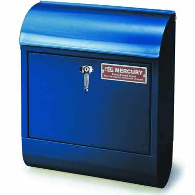 MERCURY ポスト 縦型 メールボックス ハンドル式鍵付き ネイビー スチール製 アメリカ雑貨 EE-02013