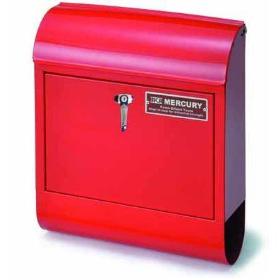 MERCURY ポスト 縦型 メールボックス ハンドル式鍵付き レッド スチール製 アメリカ雑貨 EE-02014