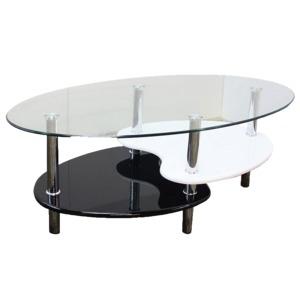その他 強化ガラステーブル(ローテーブル) 高さ43cm 棚収納/アジャスター付き ブラック(黒)& ホワイト(白)【代引不可】 ds-1747477