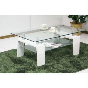 その他 強化ガラステーブル/ローテーブル 【幅120cm】 高さ45cm 棚収納付き ホワイト(白) ds-1747572