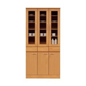 その他 ダイニングボード(食器棚/キッチン収納) 【幅90cm】 木製 ガラス扉 日本製 ナチュラル 【MORRIS】モーリス 【完成品】【代引不可】 ds-1752931