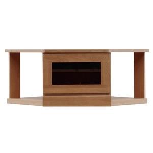 その他 2段コーナー家具/リビングボード 【幅75cm】 木製(天然木) 扉収納付き 日本製 ブラウン 【完成品】【代引不可】 ds-1753234