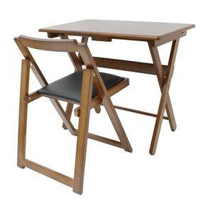 その他 折りたたみ式デスク・チェアセット 木製 椅子座面:合成皮革(合皮) ダークブラウン 【完成品】 ds-1806829