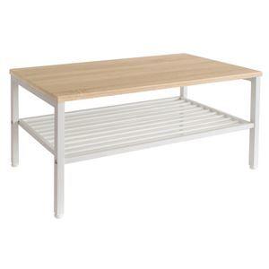 その他 センターテーブル(ローテーブル/リビングテーブル) Lily 幅90cm スチール脚 収納棚付き 木目調 NA/WH ナチュラル×ホワイト ds-1806851
