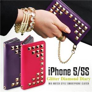 その他 GAZE iPhone5/5s Glitter Diamond Diary パープル ds-1823212