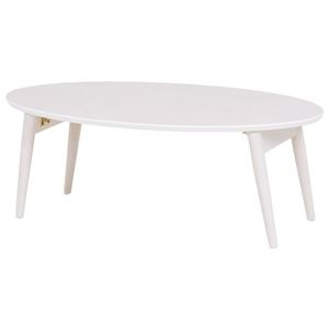 その他 折れ脚テーブル(ローテーブル/折りたたみテーブル) 楕円形 幅90cm×奥行50cm×高さ33.5cm 木製 ホワイトウォッシュ ds-1831685