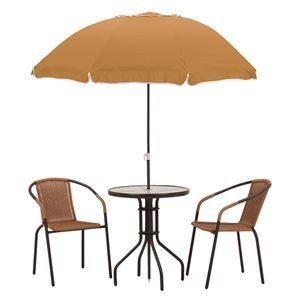 その他 ガーデンパラソルセット 【4点セット/テーブル×1・パラソル×1・チェアー×2】 テーブル:強化ガラス天板 ds-1831881
