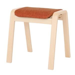 その他 スタッキングスツール/腰掛け椅子 【同色4脚セット】 ファブリック木製脚 オレンジ(橙) 【完成品】 ds-1838754