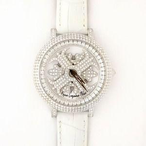 その他 アンコキーヌ ネオ 40mm バイカラー ミニクロス シルバーベゼル インナーベゼルクリアー ホワイトベルト アルバ 正規品(腕時計・グルグル時計) ds-1839662