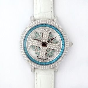 その他 アンコキーヌ ネオ 40mm バイカラー ミニクロス シルバーベゼル インナーベゼルブルー ホワイトベルト アルバ 正規品(腕時計・グルグル時計) ds-1840059