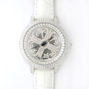 その他 アンコキーヌ ネオ 40mm バイカラー ミニクロス シルバーベゼル インナーベゼルクリアー ホワイトベルト イール 正規品(腕時計・グルグル時計) ds-1840061
