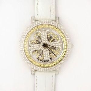 その他 アンコキーヌ ネオ 40mm バイカラー ミニクロス シルバーベゼル インナーベゼルイエロー ホワイトベルト イール 正規品(腕時計・グルグル時計) ds-1840062