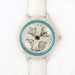 その他 アンコキーヌ ネオ 40mm バイカラー ミニクロス シルバーベゼル インナーベゼルブルー ホワイトベルト イール 正規品(腕時計・グルグル時計) ds-1840063