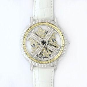 その他 アンコキーヌ ネオ 45mm バイカラー ミニクロス シルバーベゼル インナーベゼルイエロー ホワイトベルト アルバ 正規品(腕時計・グルグル時計) ds-1840069