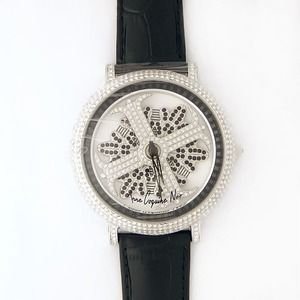 その他 アンコキーヌ ネオ 45mm バイカラー ミニクロス シルバーベゼル インナーベゼルブラック ブラックベルト アルバ 正規品(腕時計・グルグル時計) ds-1840598