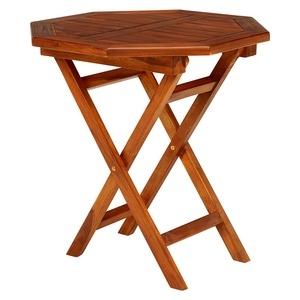 その他 木製ガーデンテーブル/アウトドアテーブル 【八角形/幅70cm】 折りたたみ式 チーク材使用 木目調 ds-1875356