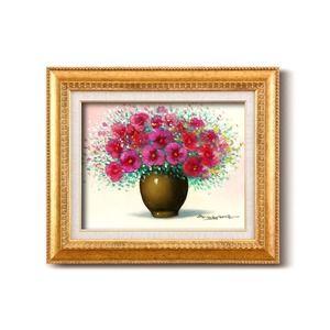 その他 油絵額/フレームセット 【F6号】桑山茂「赤い花」 460×552×55mm 金フレーム 化粧箱入り ds-1897045