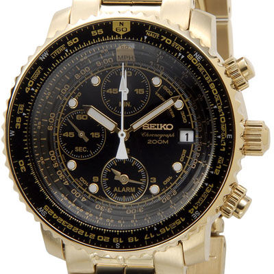 SEIKO セイコー SNA414P1 クロノグラフアラーム ブラック×ゴールド メンズ腕時計 セイコーウオッチ SESNA414P1