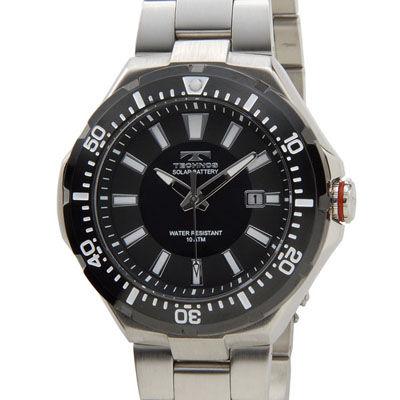 Technos テクノス ソーラーバッテリー デイト 10気圧防水 ブラック×シルバー メンズ 腕時計 T2415SB