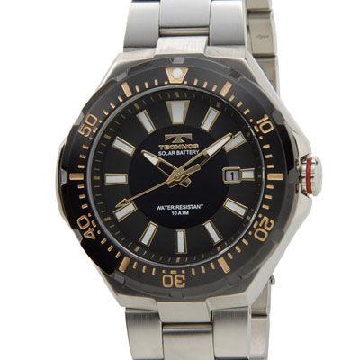 Technos テクノス ソーラーバッテリー デイト 10気圧防水 ブラック×シルバー メンズ 腕時計 T2415SH