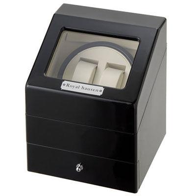 ロイヤルハウゼン ワインダー 時計収納ケース付きワインダー2本巻き3本収納 SR073 BK ワインディングマシーン 腕時計/自動巻き機 SR073BK