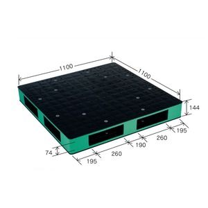 その他 カラープラスチックパレット/物流資材 【1100×1100mm ブラック/グリーン】 両面使用 HB-R4・1111SC 岐阜プラスチック工業【代引不可】 ds-1925409