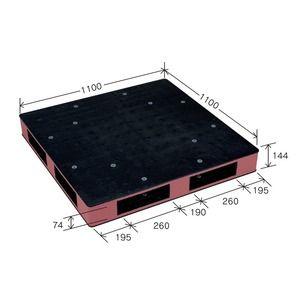 その他 カラープラスチックパレット/物流資材 【1100×1100mm ブラック/ブラウン】 両面使用 HB-R4・1111SC 岐阜プラスチック工業【代引不可】 ds-1925412