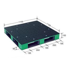 その他 カラープラスチックパレット/物流資材 【1100×1100mm ブラック/グリーン】 片面使用 HB-D4・1111SC 岐阜プラスチック工業【代引不可】 ds-1925414