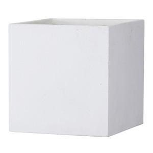 その他 ファイバークレイ製 軽量 大型植木鉢 バスク キューブ 60cm ホワイト ds-1983378