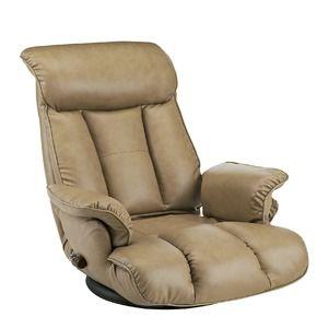 その他 スーパーソフトレザー座椅子/フロアチェア 【キャメル】 張地:合成皮革/合皮 肘付き ハイバック 日本製 『昴』 【完成品】 ds-1986684