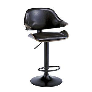 その他 ビンテージ風 バーチェア/カウンターチェア 【ブラック】 座面回転昇降式 背もたれ付き 張地:合成皮革/合皮 ds-1986735