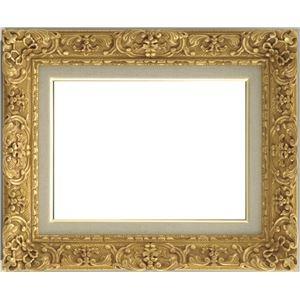 その他 油絵額縁/油彩額縁 【F0 ダークゴールド】 縦32.5cm×横37.8cm×高さ9.5cm 表面カバー:ガラス 総柄彫り 黄袋 吊金具付き ds-1986138