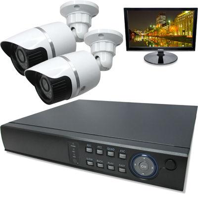 ブロードウォッチ 屋外型赤外線130万画素カメラ2台16インチモニタ付録画機セット SEC-MS-2A-C36M-16R