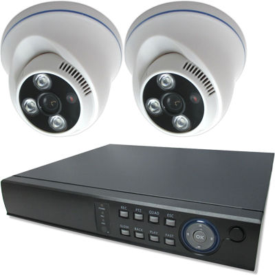 ブロードウォッチ 屋内天井型赤外線200万画素カメラ2台録画機セット SEC-MS-2A-F36P