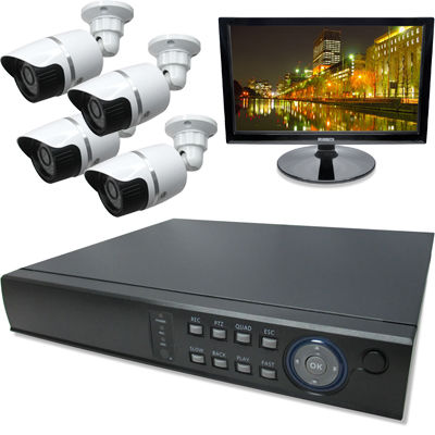 ブロードウォッチ 屋外型赤外線130万画素カメラ4台16インチモニタ付録画機セット SEC-MS-4A-C36M-16R