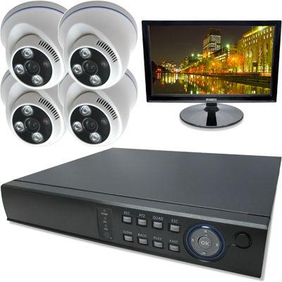 ブロードウォッチ 屋内天井型赤外線500万画素カメラ4台16インチモニタ付録画機セット SEC-MS-4A-F36G-16R