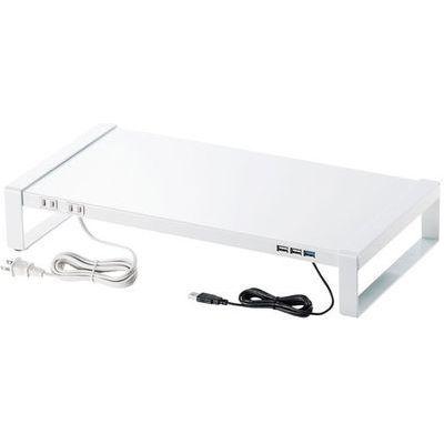 サンワサプライ 電源タップ+USBハブ付き机上ラック(W500) MR-LC204W