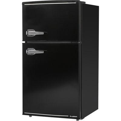 エスキュービズム 85L 2ドア レトロ 冷蔵庫 (ブラック) WRD-2090K