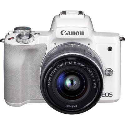 キヤノン ミラーレスカメラ EOS Kiss M・EF-M15-45 IS STM レンズキット (ホワイト) EOSKISSMWH-1545ISSTMLK【納期目安:3週間】