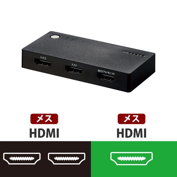 送料無料カード決済可能 エレコム メール便での発送商品 HDMI切替器 好評受付中 ケーブルなしモデル 2入力1出力 DH-SWL2BK