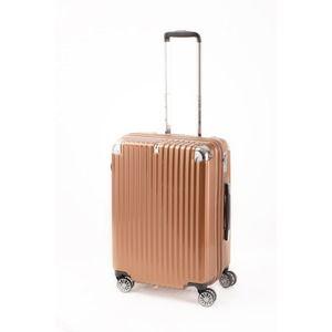 その他 スーツケース/キャリーバッグ 【ジッパー式 オレンジヘアライン】 Mサイズ 60L 『トラベリスト ストロークII』【代引不可】 ds-2024991
