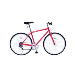 その他 6段変速 クロスバイク 【レッド】 700C スチール製 幅169cm×奥行53cm×高さ100cm サドル83cm~101cm 重量17kg 『FIELD CHAMP』【代引不可】 ds-1998720