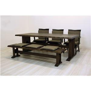 その他 【単品】和風ダイニングテーブル/リビングテーブル 【長方形 幅190cm】 木製 ブラッシング加工  ダークブラウン ds-1748454