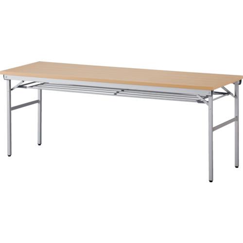 トラスコ中山 アイリスチトセ 折畳みテーブル ワイドタイプ 棚付 奥行600mm ナチュラル OTNK1860TN
